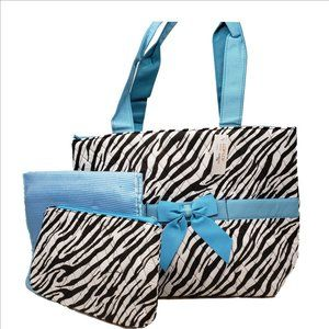 LAR LAR Zebra PrInt with Turquoise Bow Accents NEW